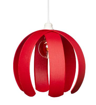 Suspension demi-boule envergure 36 cm coloris rouge